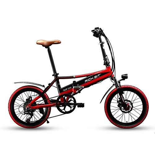 """Richbit® New RT700 20"""" Folding Electric Bike 250 Watt Motor Shimano TZ 7 Speeds 48V 8A Lithium-Ion Battery Ebike Mechanical Disc Brakes with USB Cell Phone Recharger GPS Holder Red"""