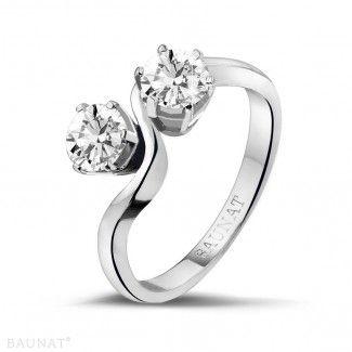 Witgouden Diamanten Ringen - 1.00 caraat diamanten Toi et Moi ring in wit goud