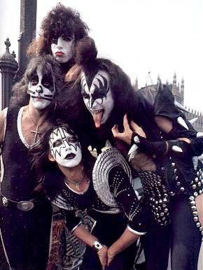 Kiss (more often styled as KISS) is an American hard rock band formed in New York City in January 1973.[1] Well known for its members' face paint and stage outfits, the group rose to prominence in the mid to late 1970s with their elaborate live performances, which featured fire breathing, blood spitting, smoking guitars, shooting rockets, levitating drum kits and pyrotechnics.