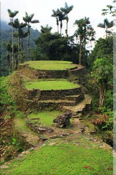 Ciudad Perdída, Colombia - ruins of of an ancient city in Sierra Nevada, Colombia from circa 800 AD (some 650 years earlier than Machu Picchu, Peru). This location is also known as Buritaca and the Native Americans call it Teyuna.