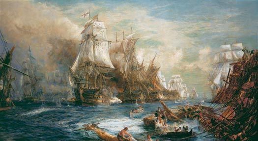 The Battle of Trafalgar by WL Wyllie.
