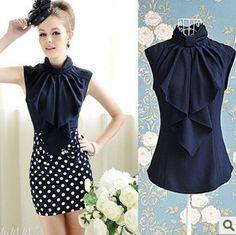 S-L free shipping fashion elegant women all match shirt bowknot collar sleeveless casual blouse shirts