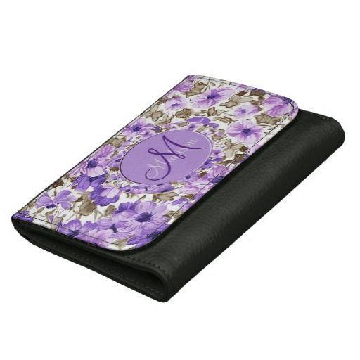 Pretty Monogram Purple & White Floral Wallet