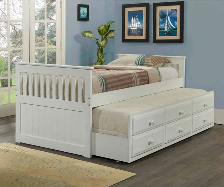★ Buy White mission syle captains trundle beds and Kids Bedroom furniture ★ White captains trundle bed twin size Bedroom Set ★ Wide Selection of captains trundle beds in white and twin size beds with trundles