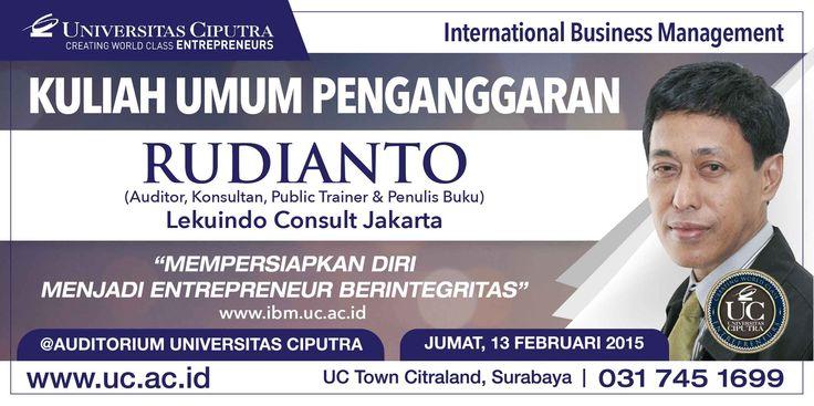 Kuliah Umum Penganggaran: Mempersiapkan Diri Menjadi Entrepreneur Berintegritas bersama Rudianto