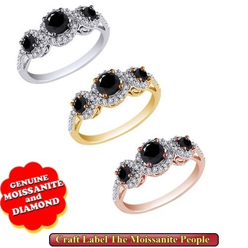 Craft Label 2.00 Ct Round Cut Real Moissanite & Natural Diamond 14K Gold…