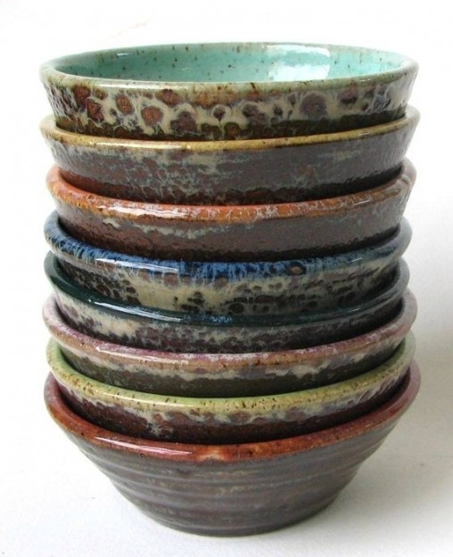 Stack of eight colorful prep bowls custom made ceramics for Sur la table mixing bowls