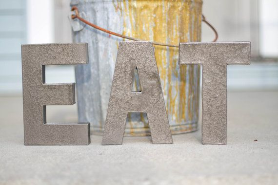 8 Inch Custom Industrial Wall Letters - Hammered Metal Finish - Any Letter(s) - 4 Color Options on Etsy, $10.50