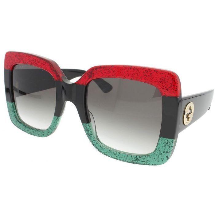 256e26bf3e2 NEW Gucci GG0083S-001 RED BLACK GREEN Square SUNGLASSES Listing in the  Sunglasses