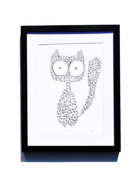 Fineliner – Drawing handmade 20x30cm: Cat and letters – a unique product by ARTandCAT on DaWanda