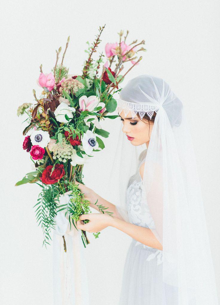 Lace cap veil + wild pink bridal bouquet
