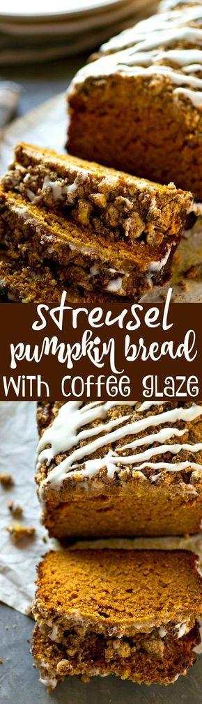 Streusel Pumpkin Bread with Coffee Glaze