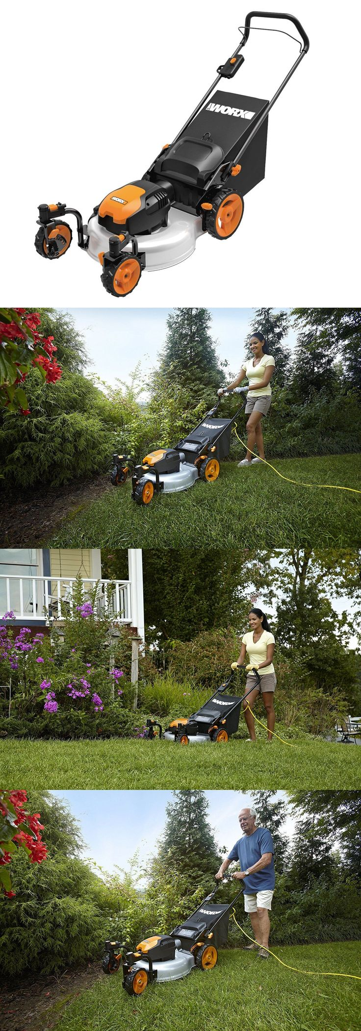Walk-Behind Mowers 71272: Wg719 Worx 19 13 Amp Caster Wheeled Electric Lawn Mower Outdoor Backyard New -> BUY IT NOW ONLY: $275.09 on eBay!