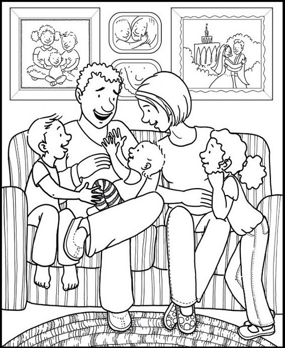Family In Living Room Coloring Page For Children Family Coloring Pages Family Coloring Coloring Pages