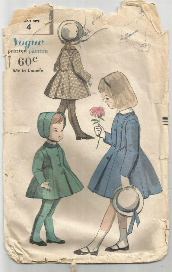 1b51dce5ed2 1950s Girl s Princess Seam Coat Peter Pan Collar and Leggings with  Suspenders Vogue 2885 Size 4 Breast 23 Girls  Vintage Sewing Pattern