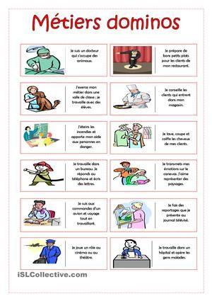 Plastifiez et coupez les cartes pour créer un jeu de dominos. Les élèves lisent la définition donnée pour chaque métier et trouvent l'image correspondante. - Fiches FLE