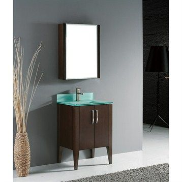 "Madeli Caserta 24"" Bathroom Vanity with Glass Basin - Walnut | Free Shipping"