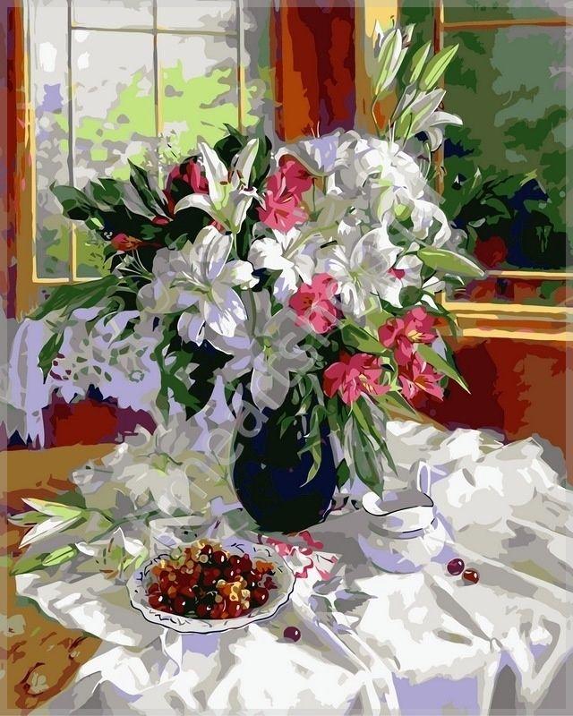 Лилии и красная смородина, картина раскраска по номерам, своими руками, размер 40*50см, цена 750 руб.