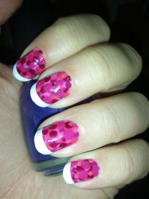 Pink dotted with white tips