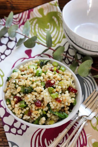 Pearl Couscous with Greens, Cranberries and Pine Nuts #vegan #salad #recipe