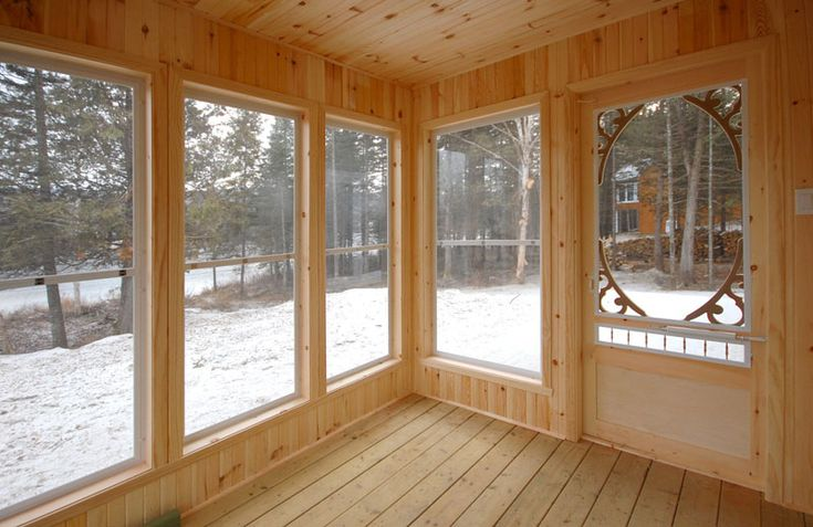 Pleasant screened porch built with natural wood - plan 032D-0525 - houseplansandmore.com