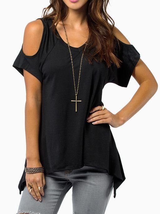 T-Shirt+asymétrique+épaule+dénudée+-Noir++9.17