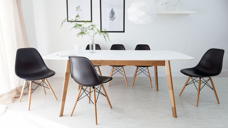 Aver Oak and White Extending and Eames Dining Set £495.00