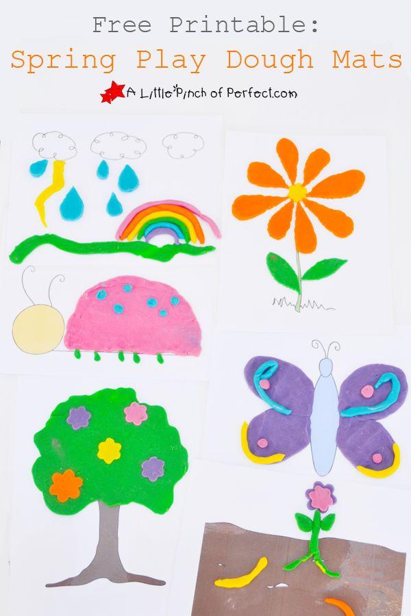 Free Printable: Spring Play Dough Mats (Bugs, Weather ...