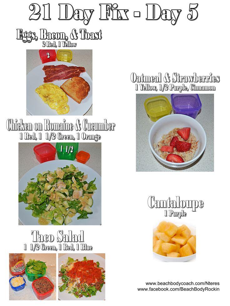 21 Day Fix 1200-1499 Calorie Meal Plan for One Day www.beachbodycoach.com/Nteres www.facebook.com/BeachBodyRockin