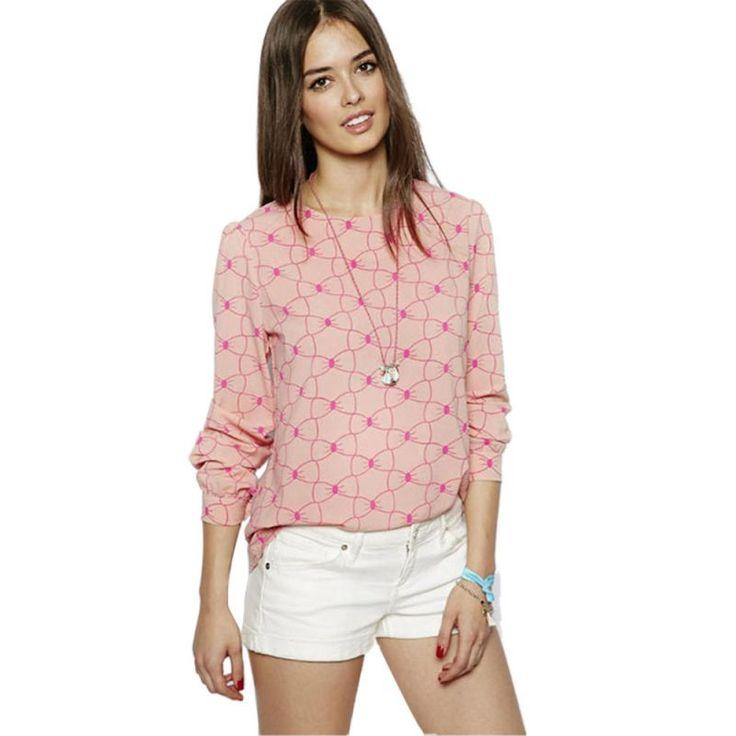 Fashion Summer Autumn Women Long Sleeve Chiffon Tops O-Neck Dots Blouse Casual Shirts