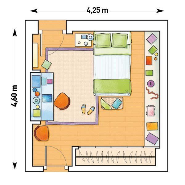 Un dormitorio abuhardillado search and colors for Plano habitacion online