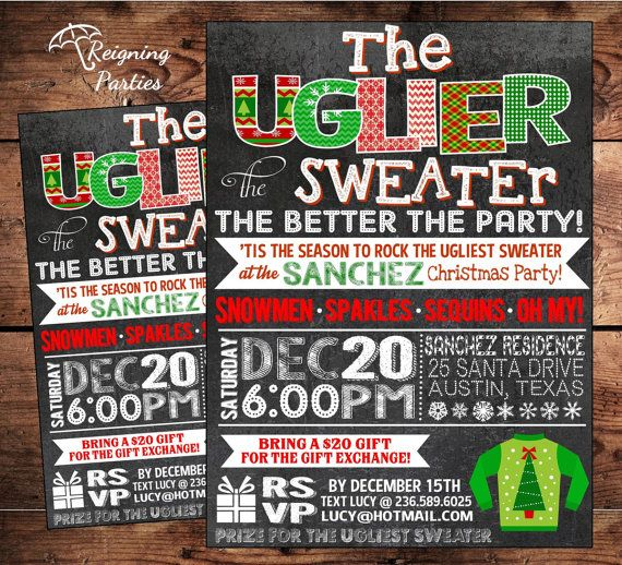 Ugly Sweater Christmas Holiday Party Invitation - Digital File