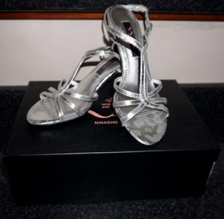 Nina Silver Galexy Metallic Strappy Heels Sandals Slingback Size 7 EUC  ~ SL #Nina #Strappy #Formal