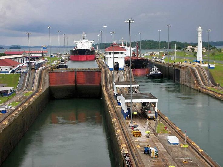 Descending to Colon and the Caribbean through the Gatun Locks with Gatun Lake in the background, Panama