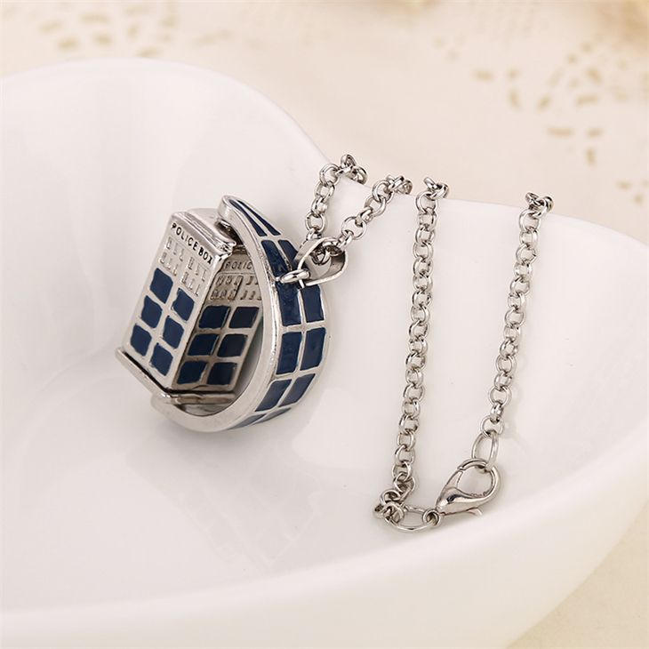 dr doctor who necklace rotating tardis police box vintage blue and silver pendant jewelry for men and women wholesale-in Pendant Necklaces from Jewelry & Accessories on Aliexpress.com | Alibaba Group