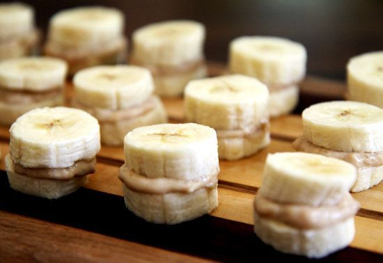 Frozen banana and peanut butter bites. Quick energy post-workout. Oh man, these are delish! I just made and added a little honey for my favorite combo of bananas, peanut butter and honey!