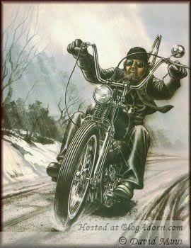 A Biker rides...period. Art by David Mann