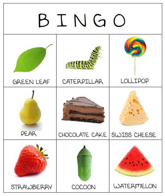 It's Playtime - Recreação em Inglês: The very hungry caterpillar - BINGO