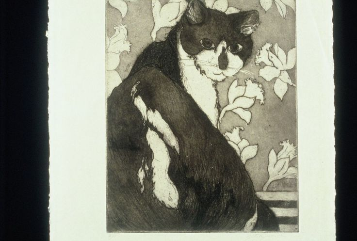 Original Fine Art Etching with Aquatint Untitled (cat) by papermaker on Etsy