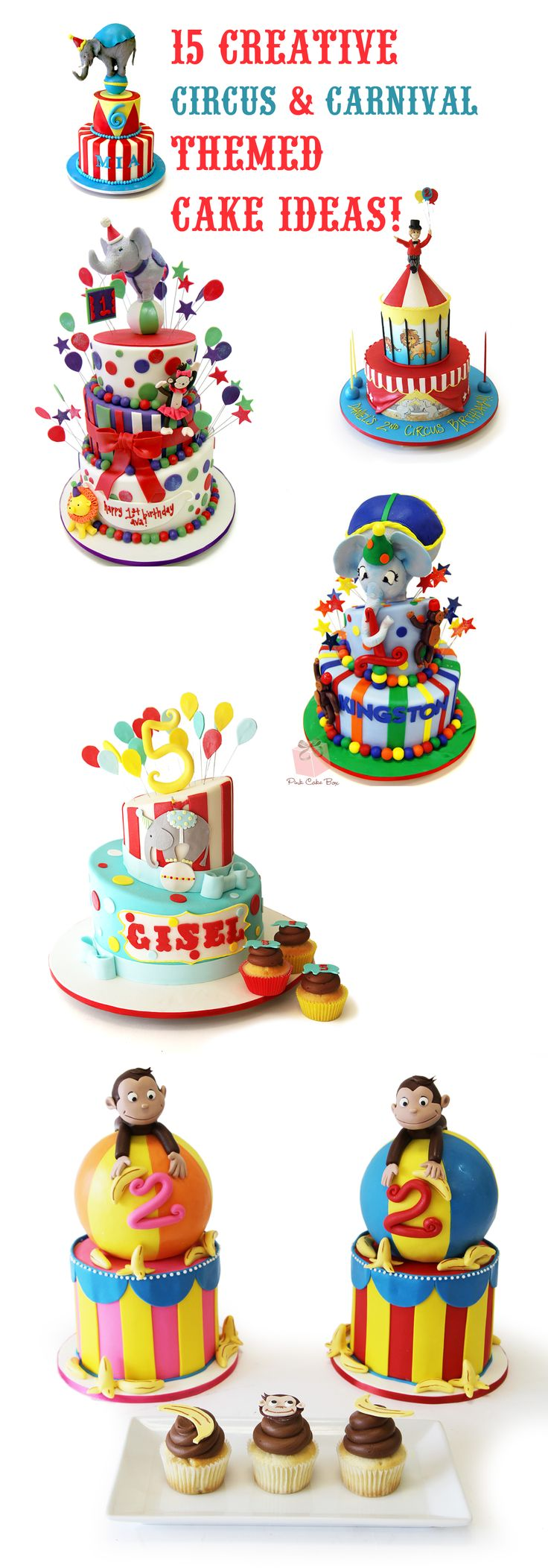 Circus themed cakes can be creative, festive and cute. They make great additions to parties, and children especially love their whimsical characters. Carnival themed cakes are both memorable and eye-catching. Guests can never get enough of their bright hues and fun styles. Just take a look at these creative circus and carnival themed cakes from our talented designers. You'll feel like a kid again!