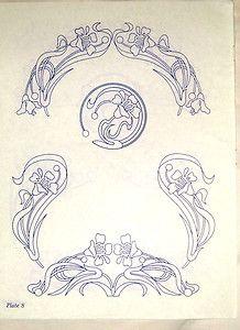 Vintage embroidery transfer - Art Nouveau nasturtium flower & leaf motifs