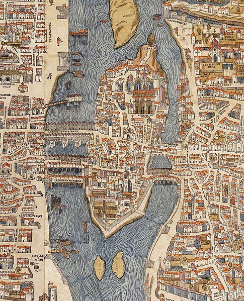 Île de la Cité (1550), Paris IV. 4th Arrondissement in southeastern part of the island is separated from the 1st arrondissement by the Boulevard du Palais.