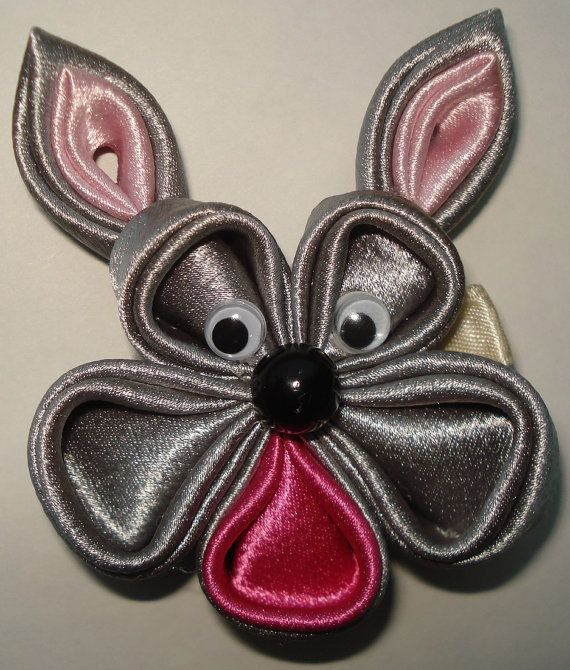 Pink and Gray Kanzashi bunny flower by GirlsFairytaleWorld on Etsy, $10.00