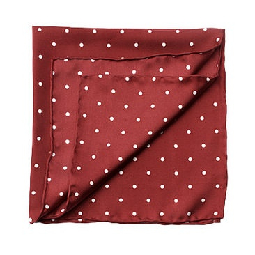 Polka Dot Pocket Square Silk Handkerchief in Burgundy & White - Aspinal of London