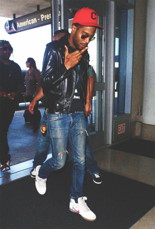 Easy to throw this together. The pop of red is what draws me in. Kid cudi. Men's fashion.