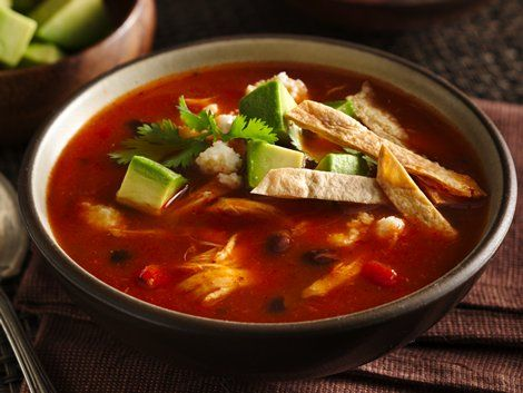 Chicken Tortilla Soup - Hearty dinner ready in 30 minutes! Serve this delicious soup made using chicken, Progresso® beans and Progresso™ Recipe Starters™ tomato sauce – topped with Old El Paso® burritos.