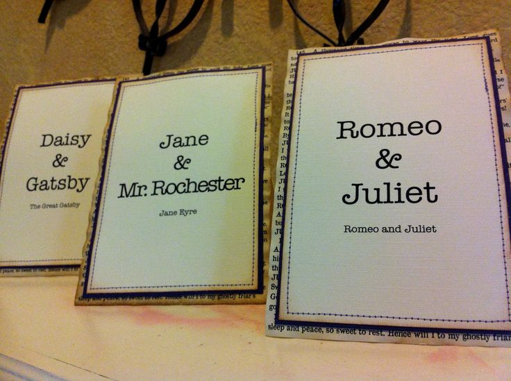 Wedding Table Signs, Table Numbers, Literary Table Signs, Vintage wedding, Vintage Wedding, Romeo and Juliet. $11.85, via Etsy.