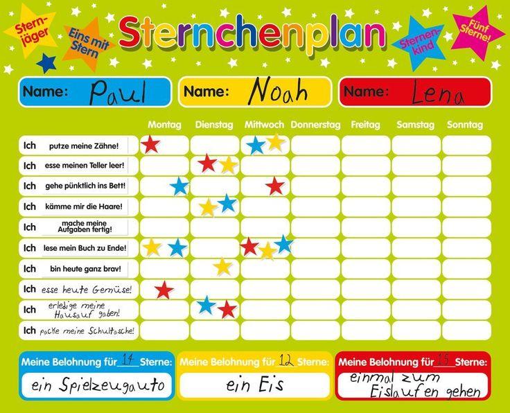 Magnetischer Sternchenplan / Belohnungstafel für bis zu drei Kinder Feste Tafel, 40 x 30 cm, mit Aufhängeöse: Amazon.de: Spielzeug