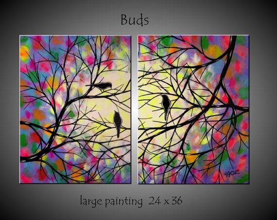 Large Abstract Birds in Tree Painting by jmichaelpaintings on Etsy, $149.99