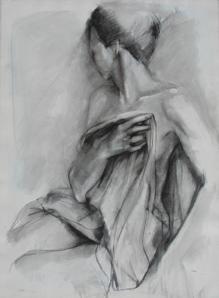 Charcoal Drawing of Female Model Holding Drapery.  Large Fine Art Print. $30.00, via Etsy.